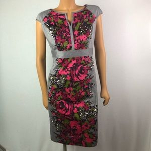 Nine West floral roses fitted straight dress Sz6